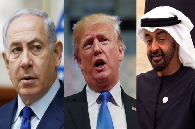 Benjamin Netanyahu, Donald Trump and Mohammed bin Zayed