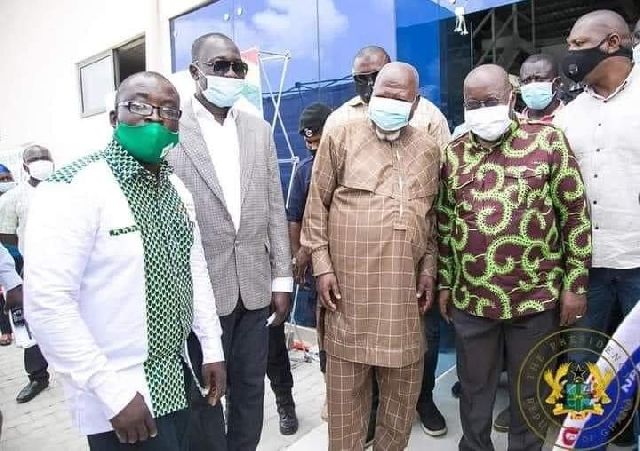 Mr Allotey Jacobs in a photoshoot with President Nana Akufo-Addo at one of the factories