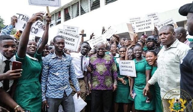 President Nana Akufo-Addo and some nurse trainees