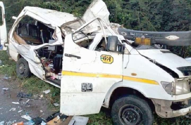 """At least eight colts footballers who were all members of a youth football academy in the Offinso Municipality, Ashanti Region, died instantly on Saturday, 19 September 2020 at about 3:30 pm, after the bus they were travelling on from Afrancho, skidded off the road and tumbled into River Offinso. There were 36 young players on the bus when the accident occurred. Police says the driver lost control of the bus, as he sped during their return from a game. The bus, a KIA Pregio with registration number AS 928–19, got totally mangled. The boys who died were between the ages of 12 and 16. Their bodies have been deposited at St Patrick's Hospital morgue. The other 30 teammates also sustained severe injuries. Four of them are in critical condition. The remaining others are also getting medical attention at St. Patrick's Hospital. The police is doing further investigations of the accident. """"We are deeply saddened by the development and wish to express our condolences to the family of the deceased and a speedy recovery to the rest of the team who sustained various degrees of injuries during the accident,"""" the Ghana Football Association said in a statement Local residents of the area thronged to the accident scene after news of the disaster got to them. This is the third horrible accident that has occurred within a week. Fourteen people died in a ghastly crash between two huge passenger buses and a cargo truck at Kyekyewere in the Eastern Region on the Accra-Kumasi highway at the beginning of this week. Another seven died in a separate crash on the Cape Coast-Kasoa highway in the Central Region."""