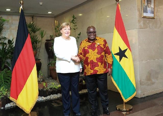 German Chancellor Angela Merkel and Nana Akufo-Addo at Jubilee House