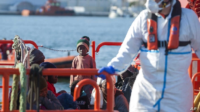 Group of migrants rescued by Spanish maritime authorities