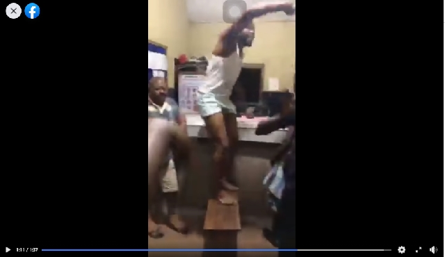 One of the NDC supporters who invaded the Suame police station