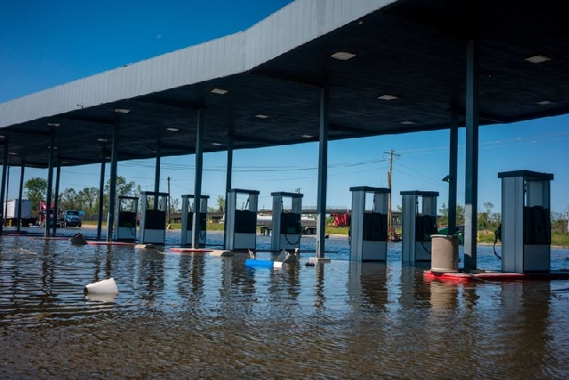A gas station remains flooded from Hurricane Delta in Lake Charles, Louisiana, U.S., October 10