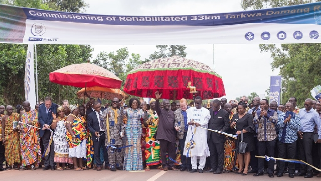 Gold Fields ESG-linked Tarkwa-to-Damang mine road opening in Ghana.