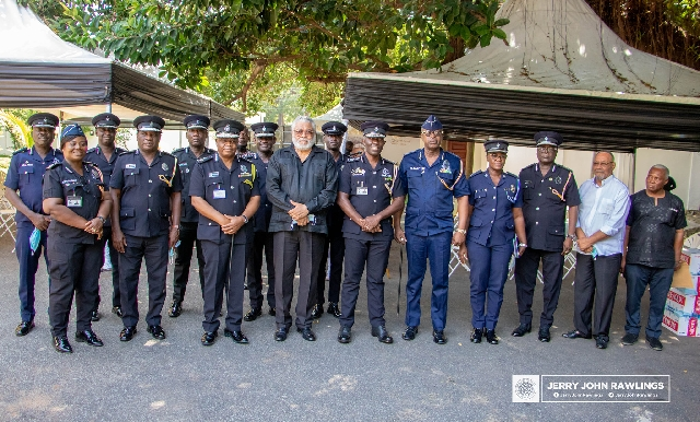 Police in a group picture with Rawlings