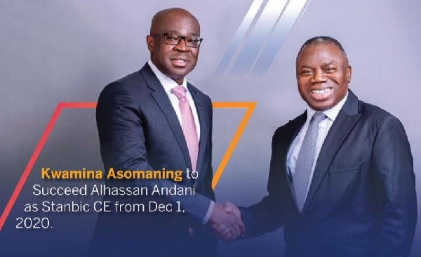 Mr Kwamina Asomaning in a handshake with outgoing CEO Alhassan Andani