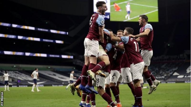 Lanzini's strike, his first goal since May 2019, sparked wild West Ham celebrations at Tottenham Hotspur Stadium