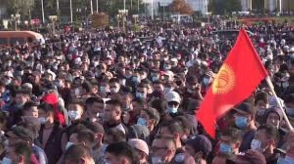Thousands of demonstrators have taken to the streets of the capital Bishkek