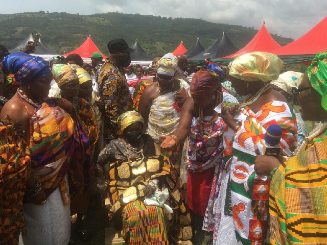 Prof Opoku-Agyemang (seated) flanked by other queens