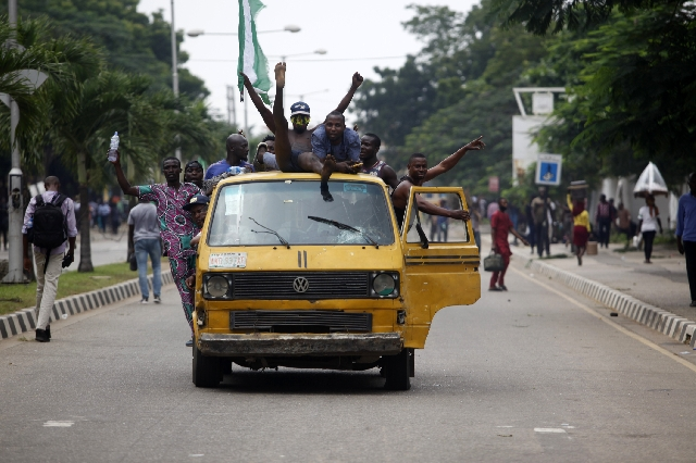 Protestors in a van in Nigeria