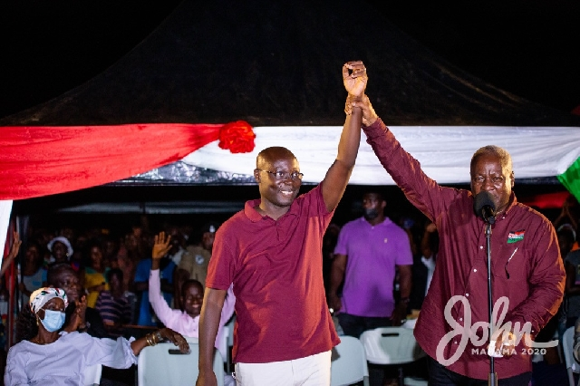 Former President John Mahama endorsing Ajumaka Enyan Esiam MP Cassiel Ato Forson