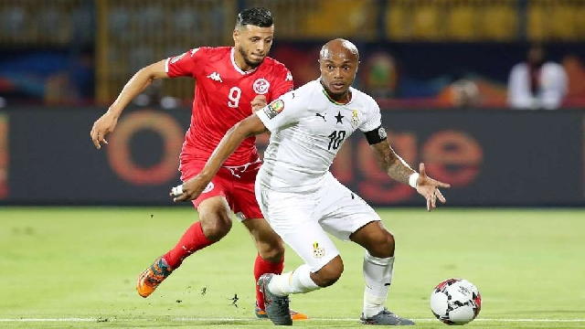 Andre Ayew (clad in white jersey) may not plsy in today's qualifier against Sudan
